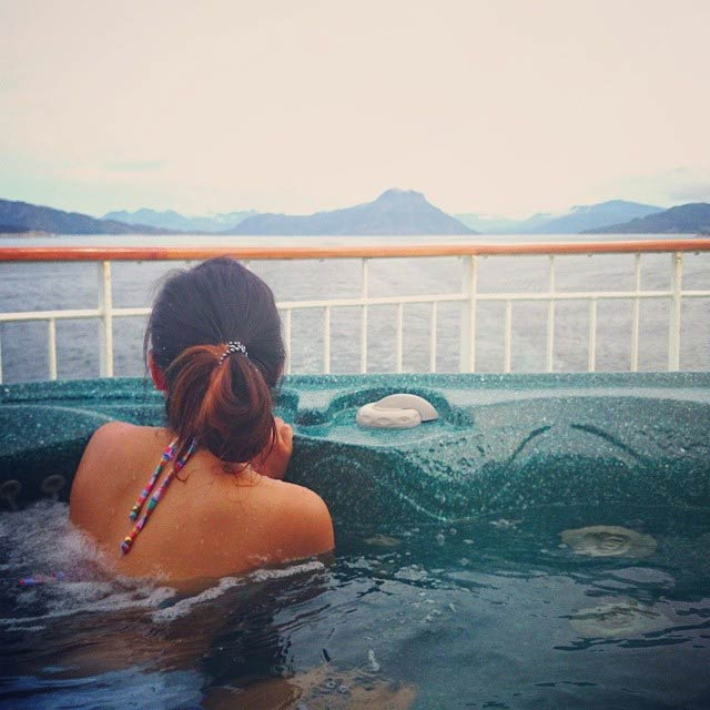 In the Jacuzzi of the cruise ship in Norway