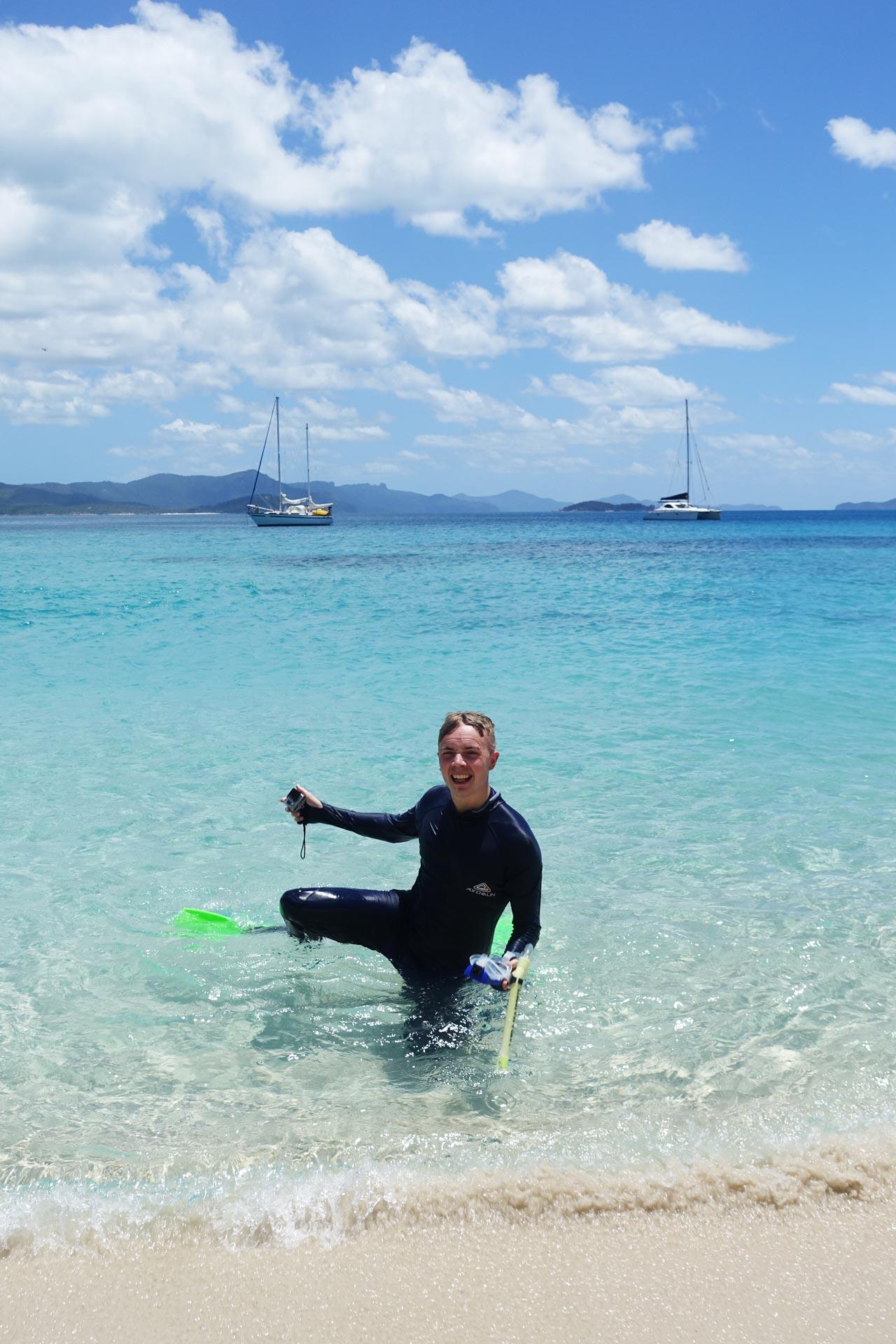 Mattias snorkelling at Chalkies Beach