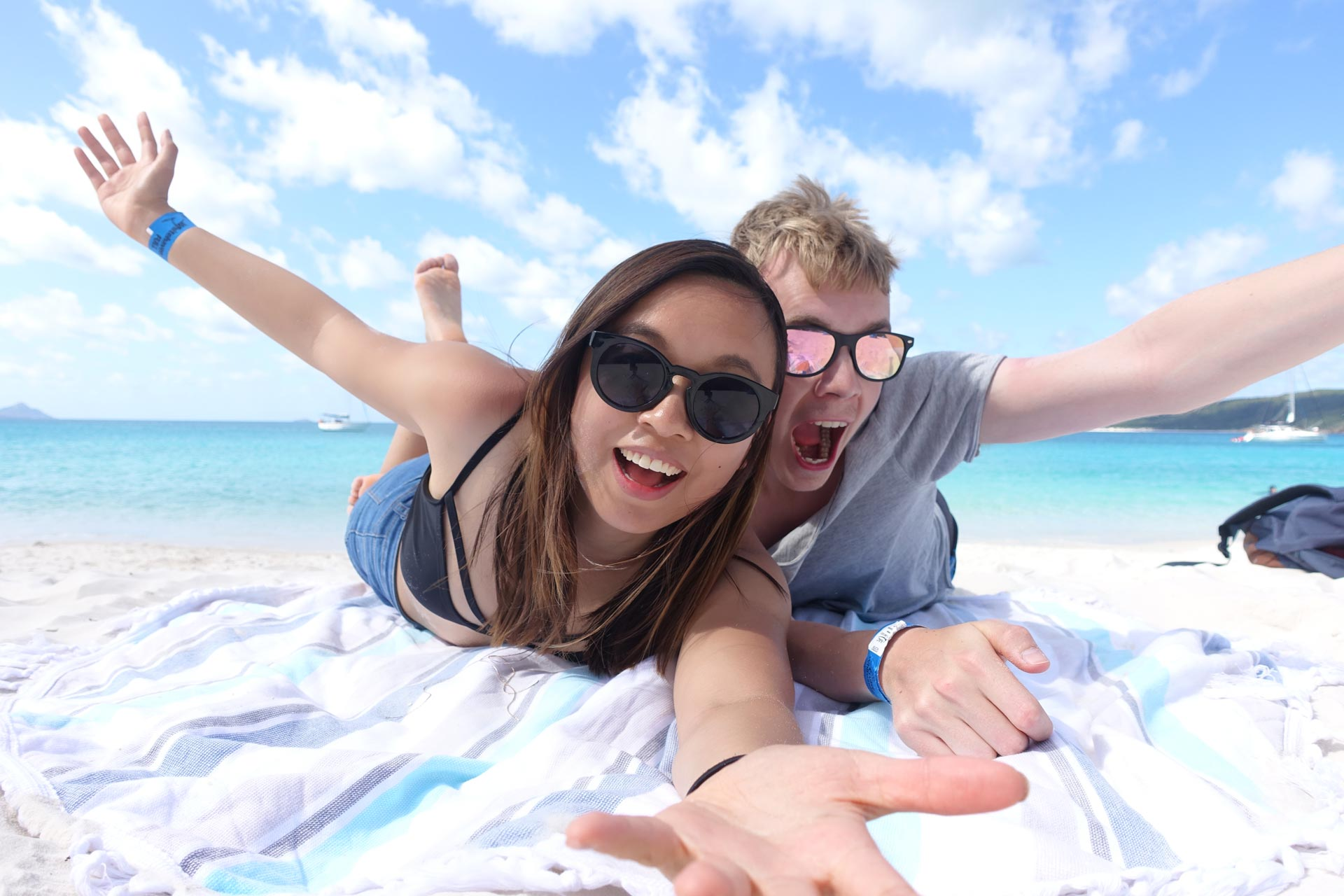 Leonie and Mattias at the best beach in Australia