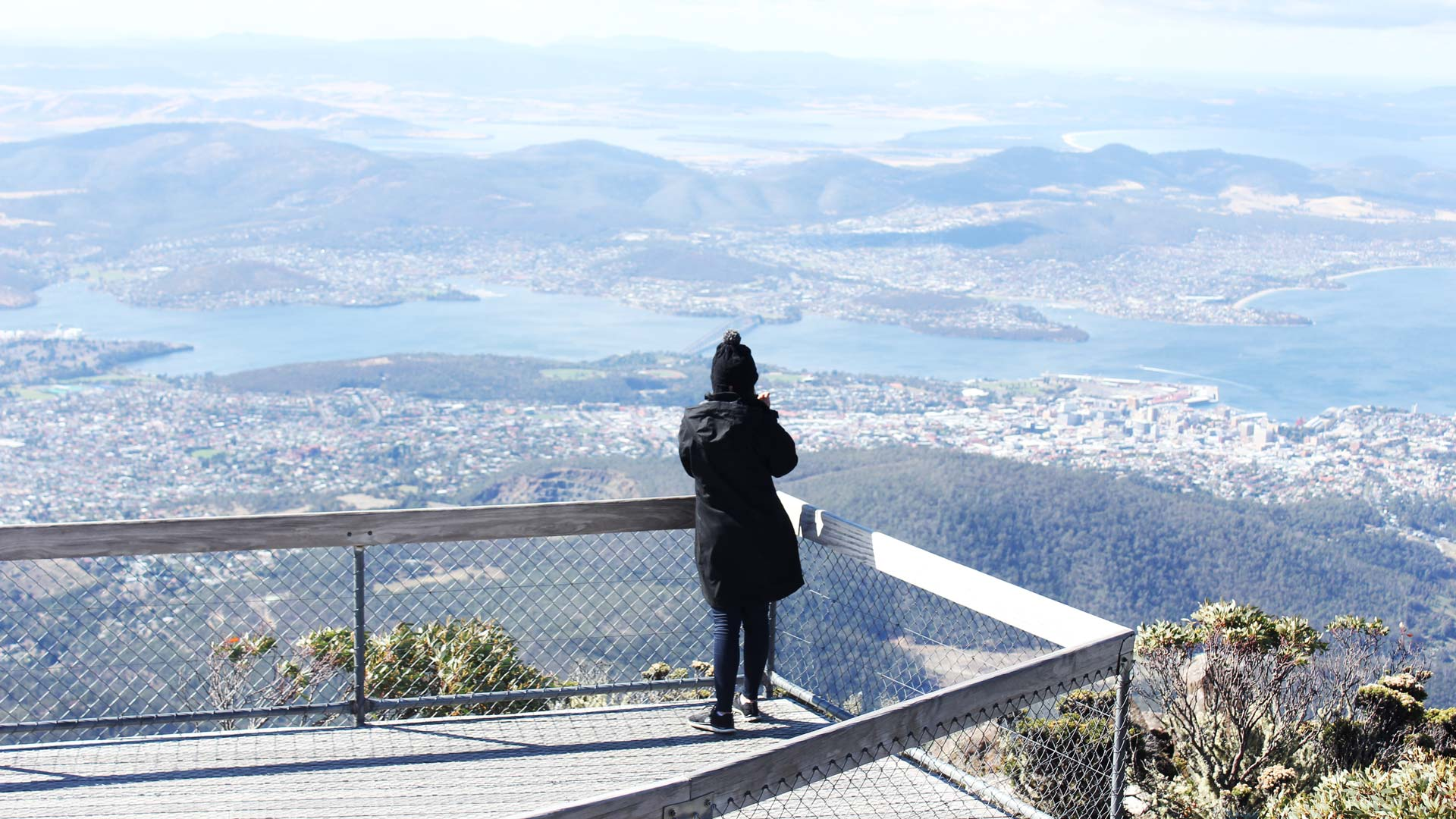Leonie at the top of Mount Wellington