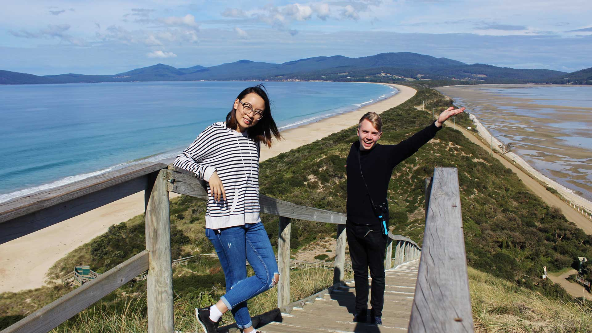 Mattias and Leonie at Bruny Island The Neck Lookout