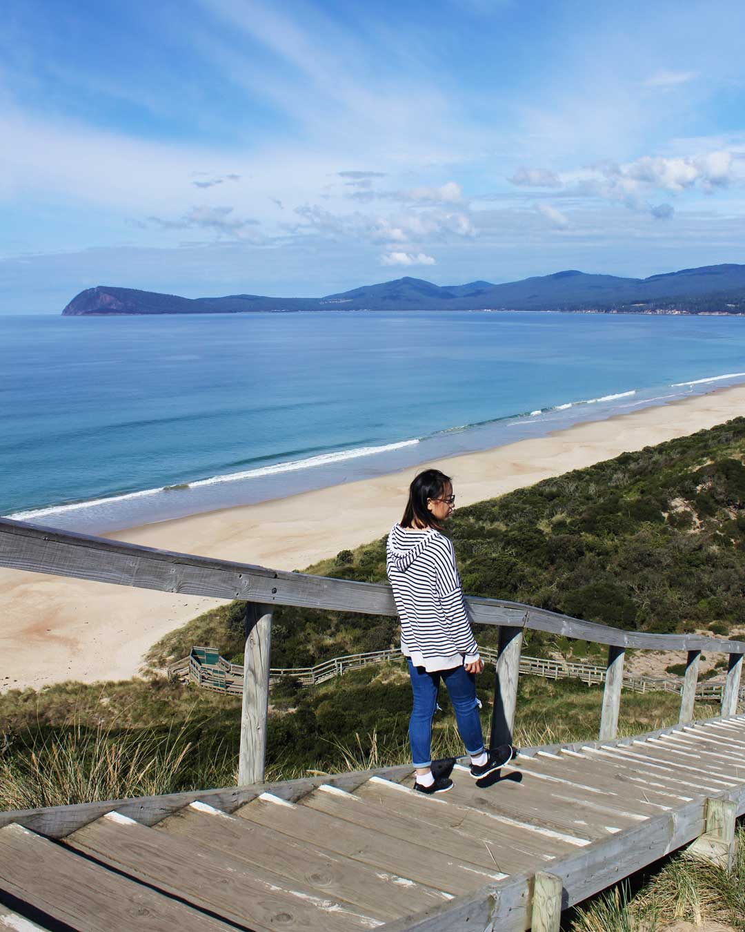 Leonie at The Neck Lookout in Bruny Island
