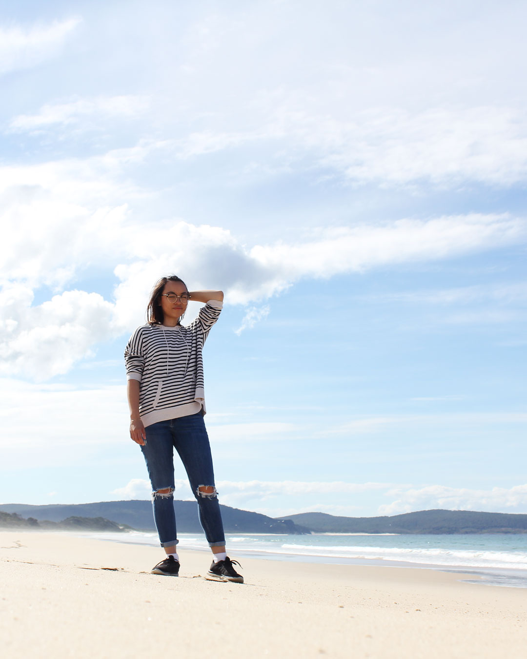 Leonie at Bruny Island Beach Tasmania