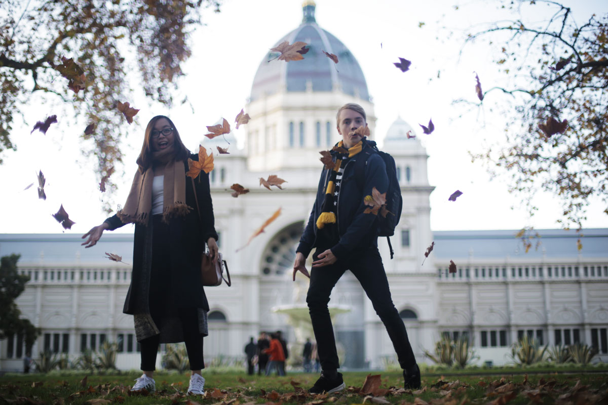 Throwing leaves at Royal Exhibition Hall