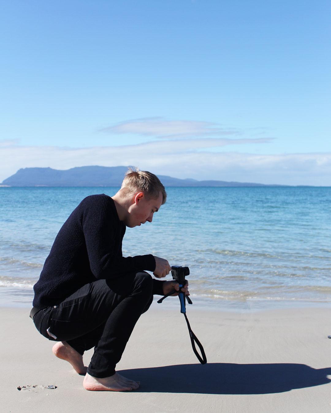 Mattias at Raspins Beach Orford Tasmania
