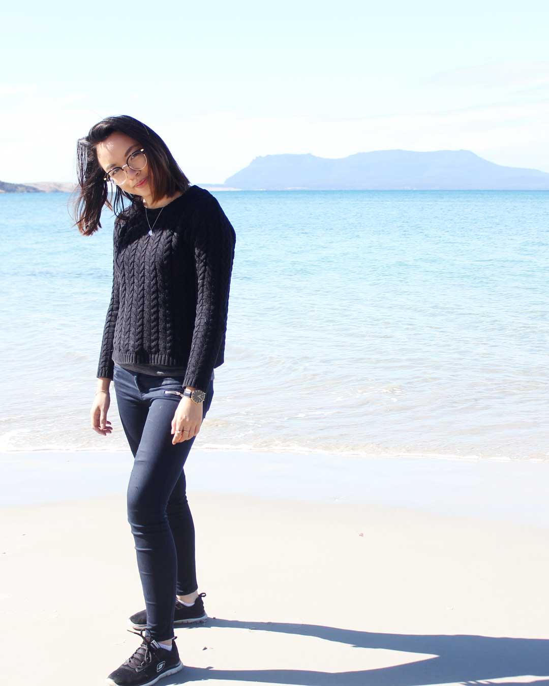 Leonie at Raspins Beach Orford Tasmania