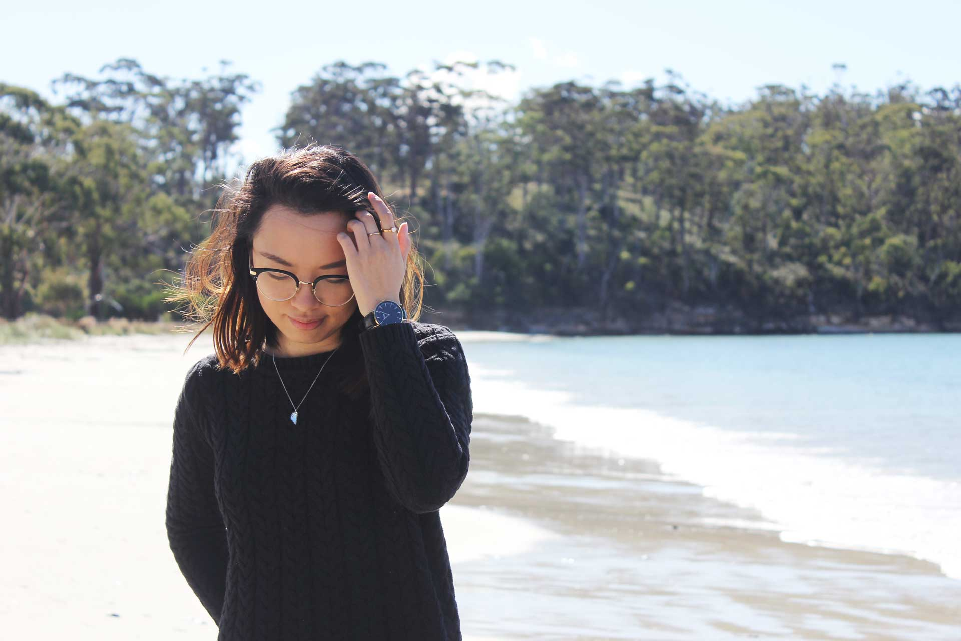 Leonie at Raspins Beach Orford Tasmania Road Trip