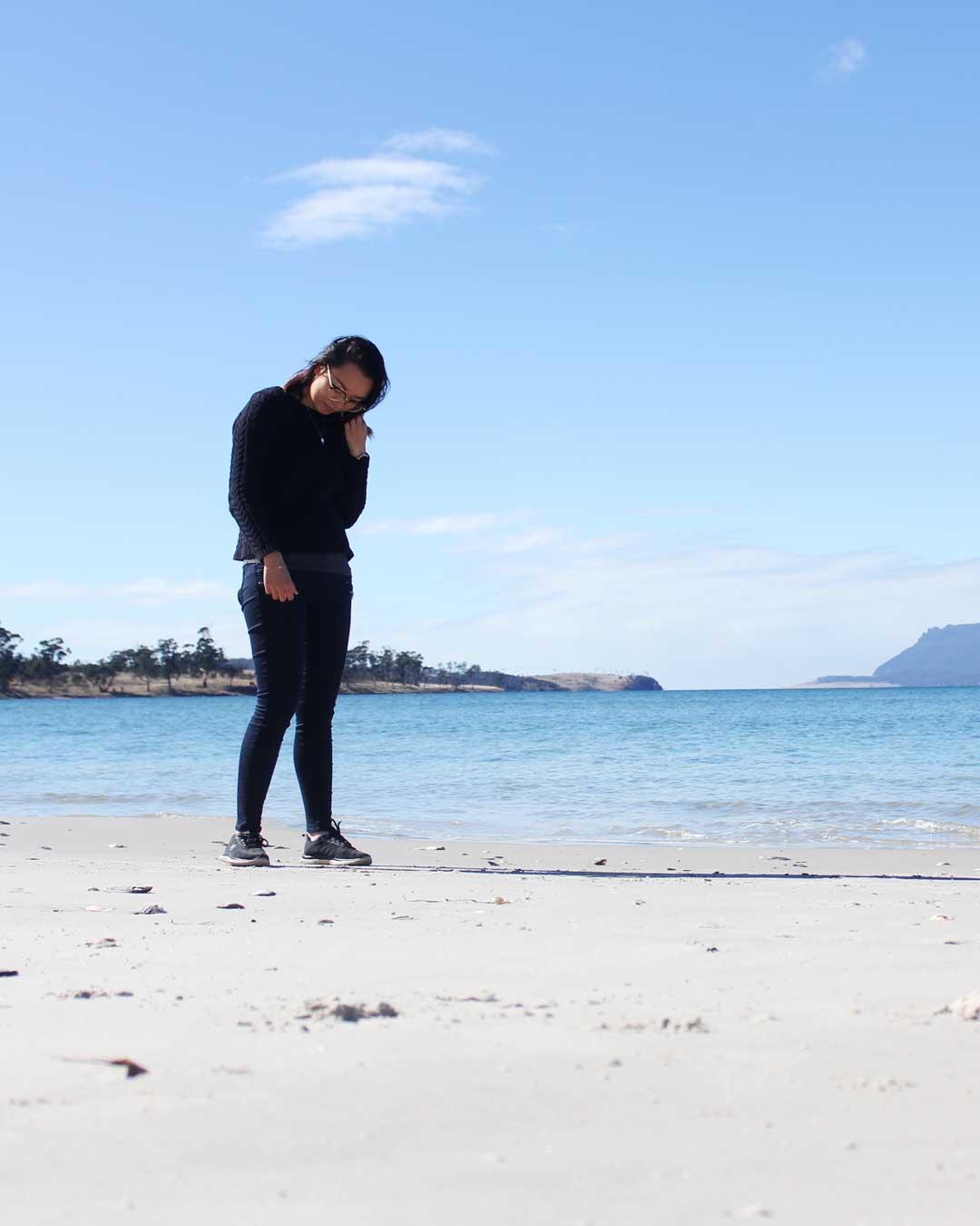 Leonie at Orford Raspins Beach Tasmania