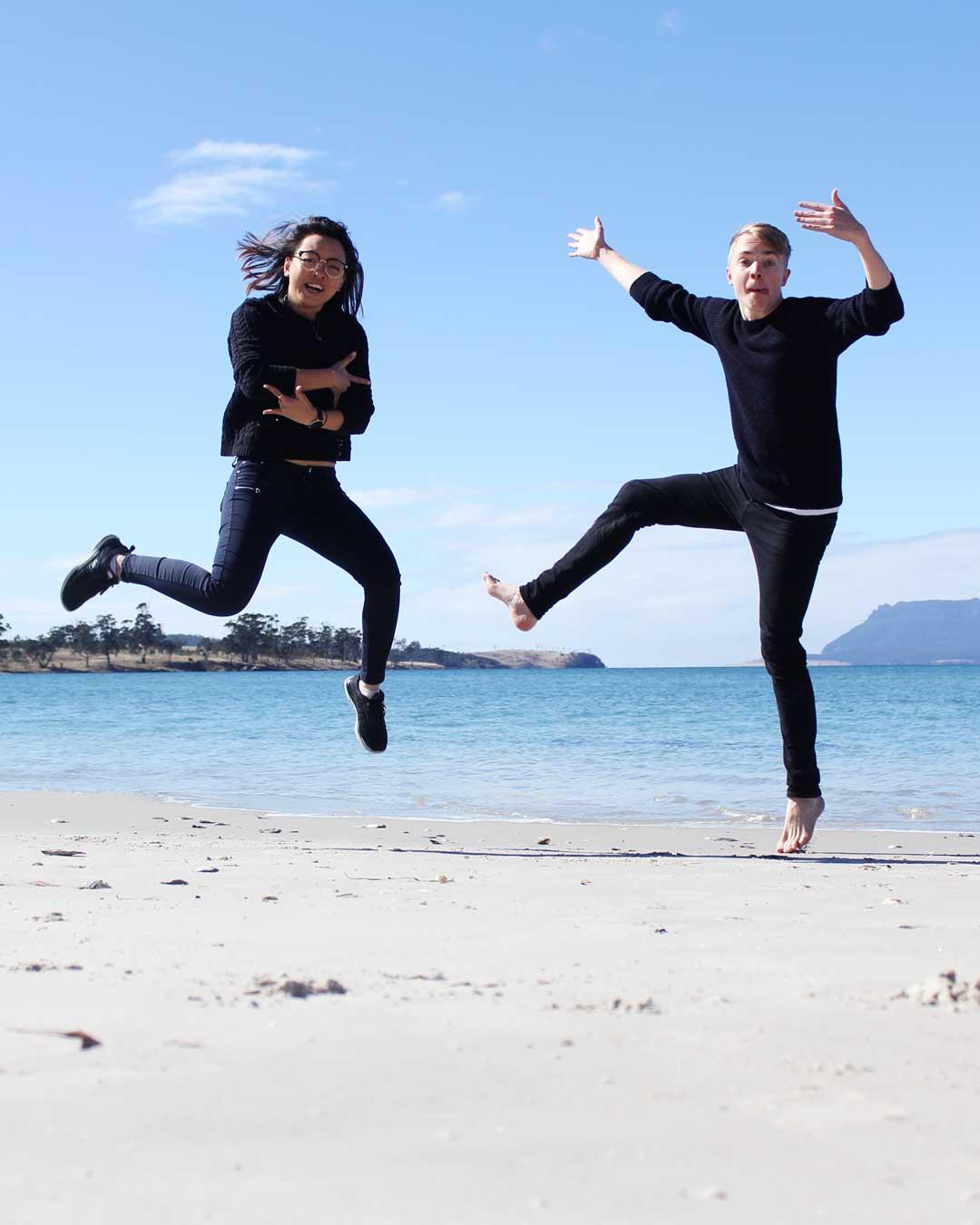 Leonie and Mattias at Raspins Beach Orford Tasmania