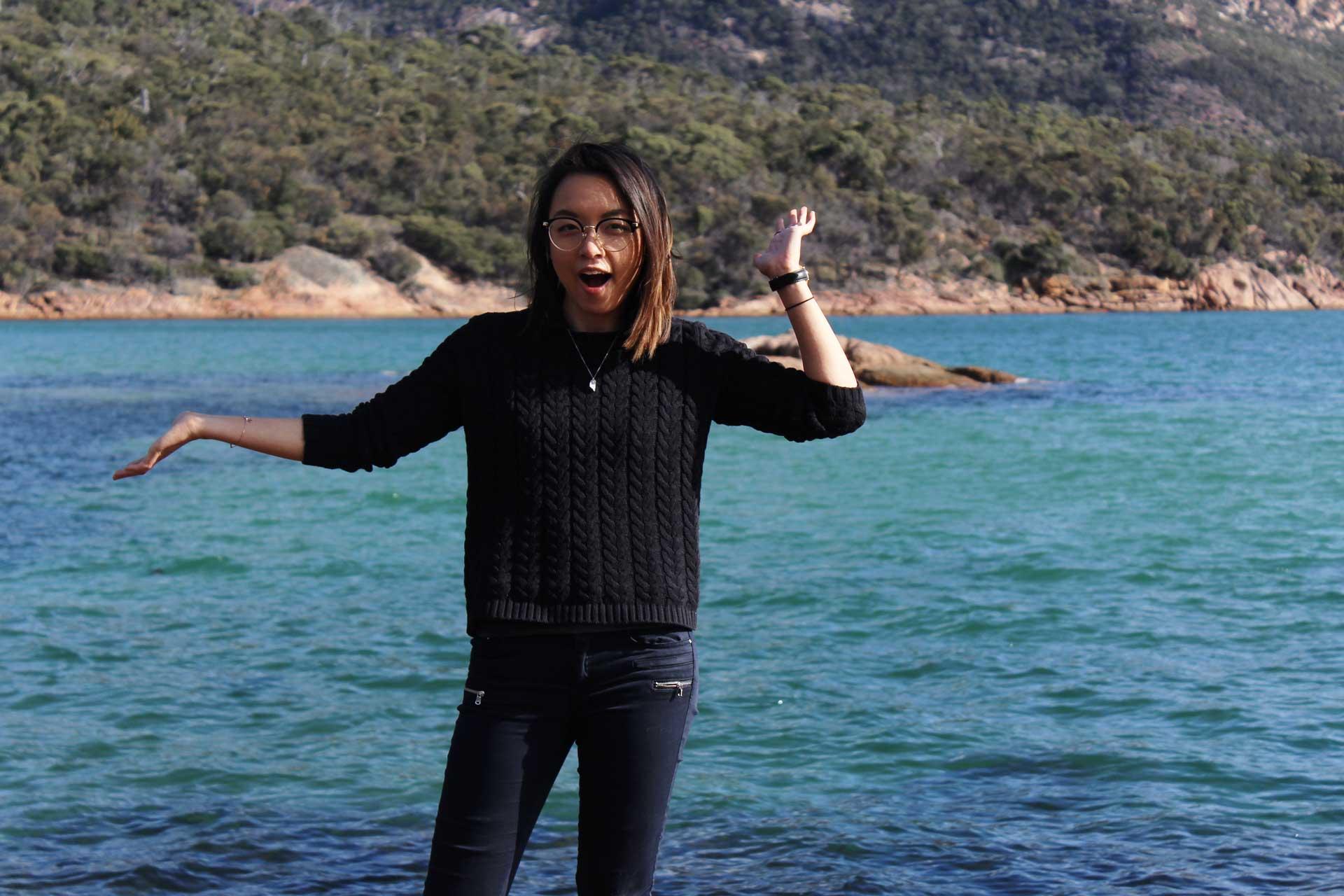 Leonie Sii at Honeymoon Bay Tasmania