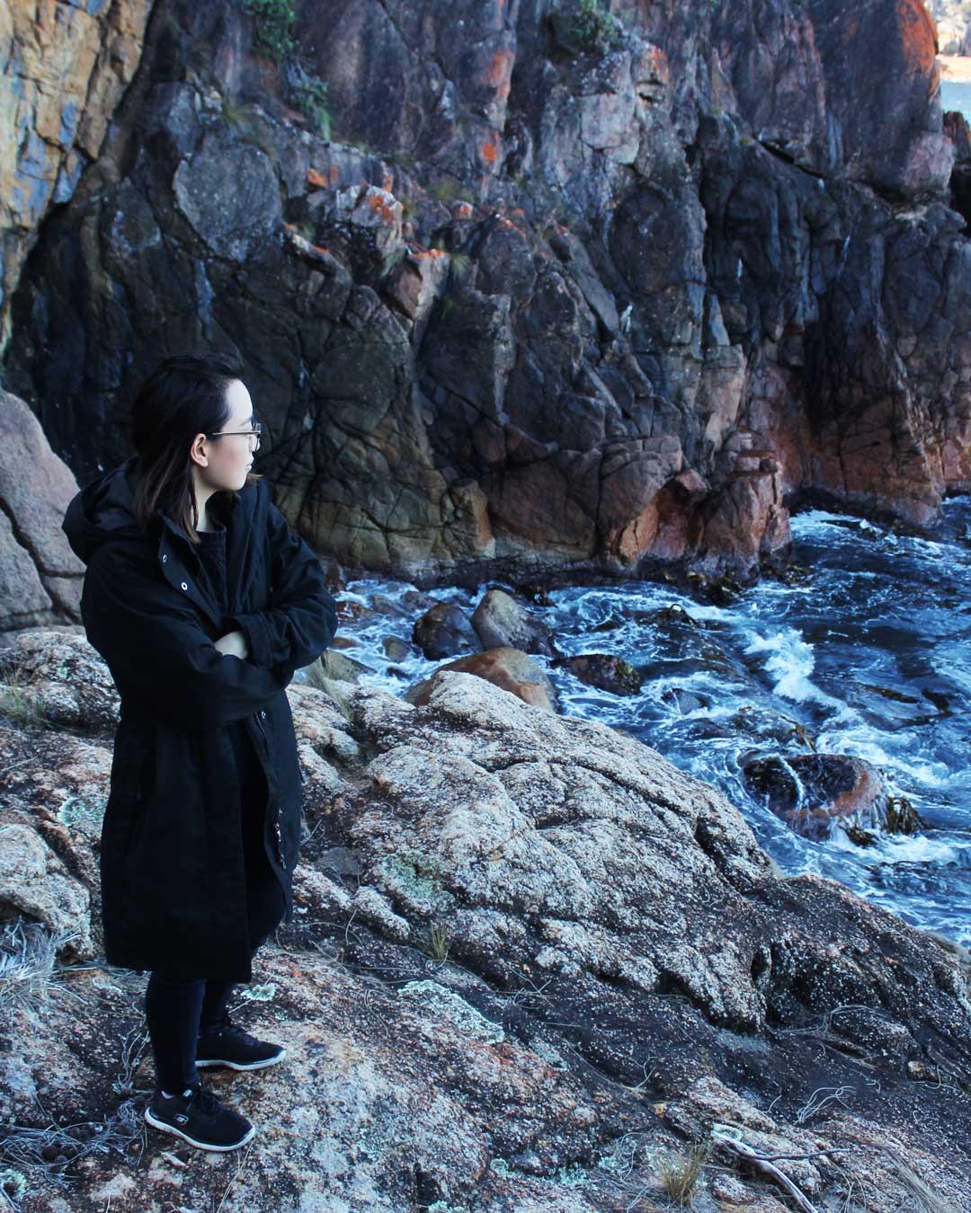 Leonie at Sleepy Bay Tasmania