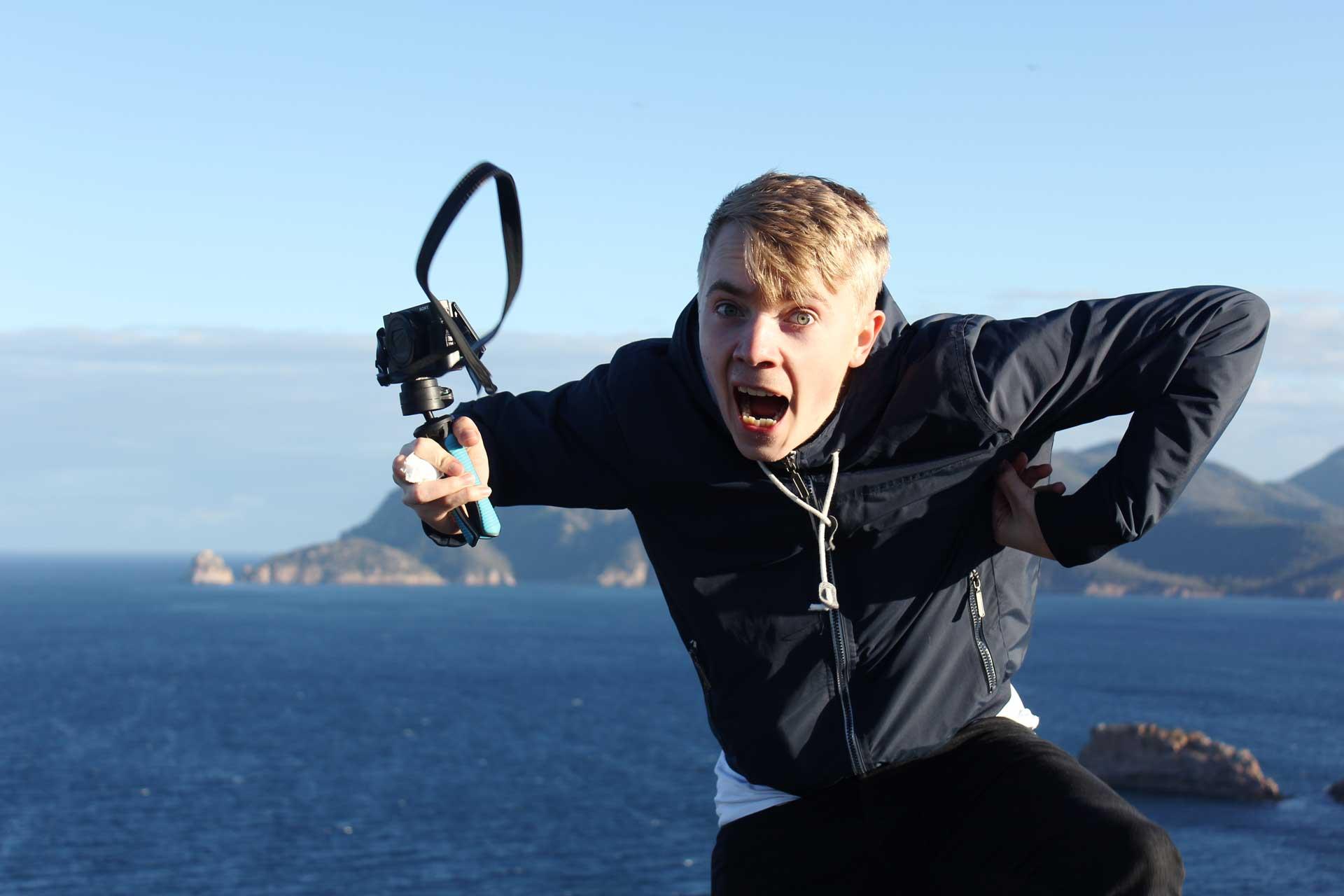 Mattias on top of Cape Tourville Lighthouse Tasmania