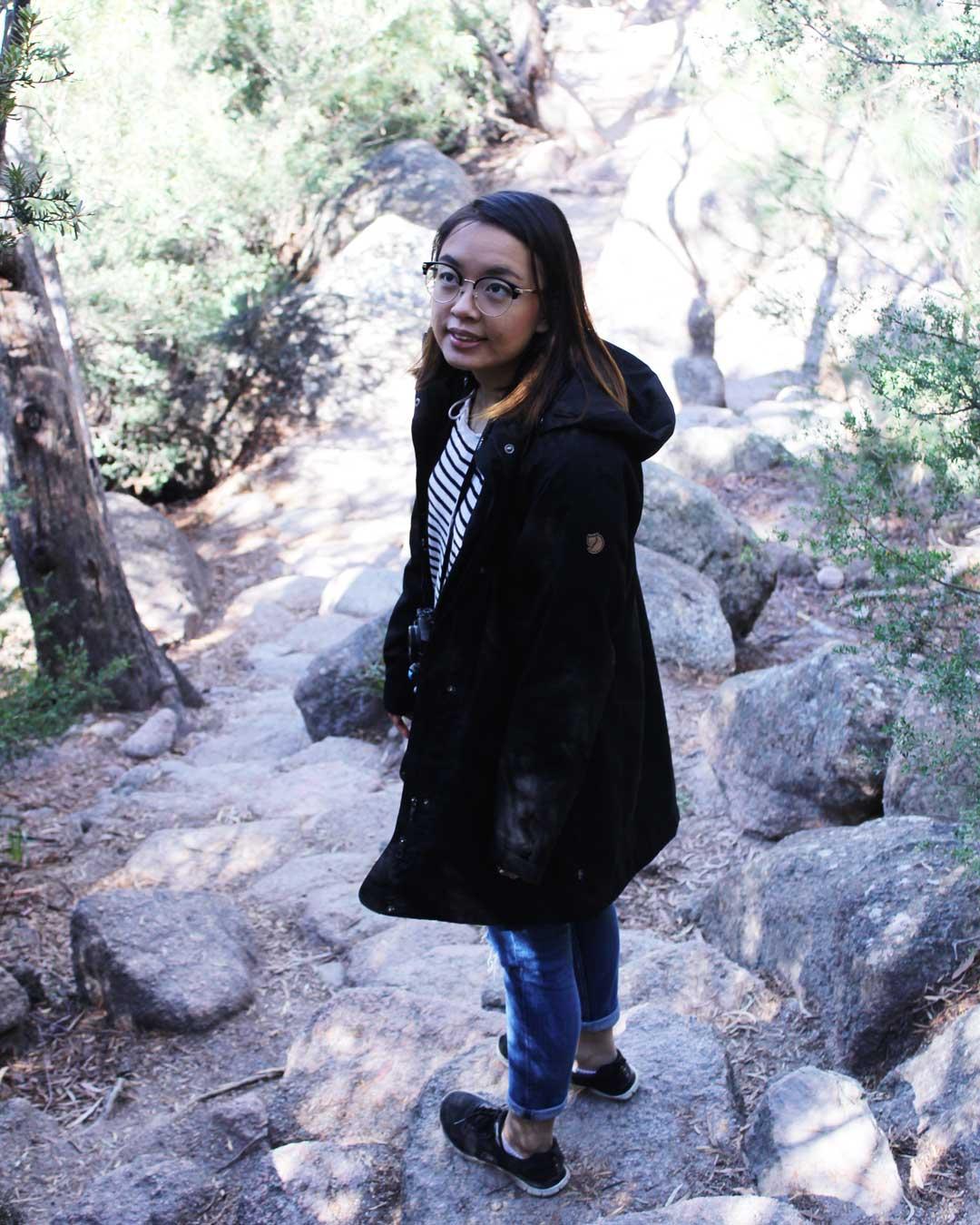 Leonie hiking to Wineglass Bay Tasmania