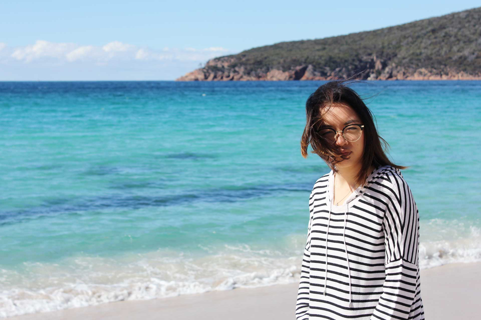 Leonie at Wineglass Bay Tasmania