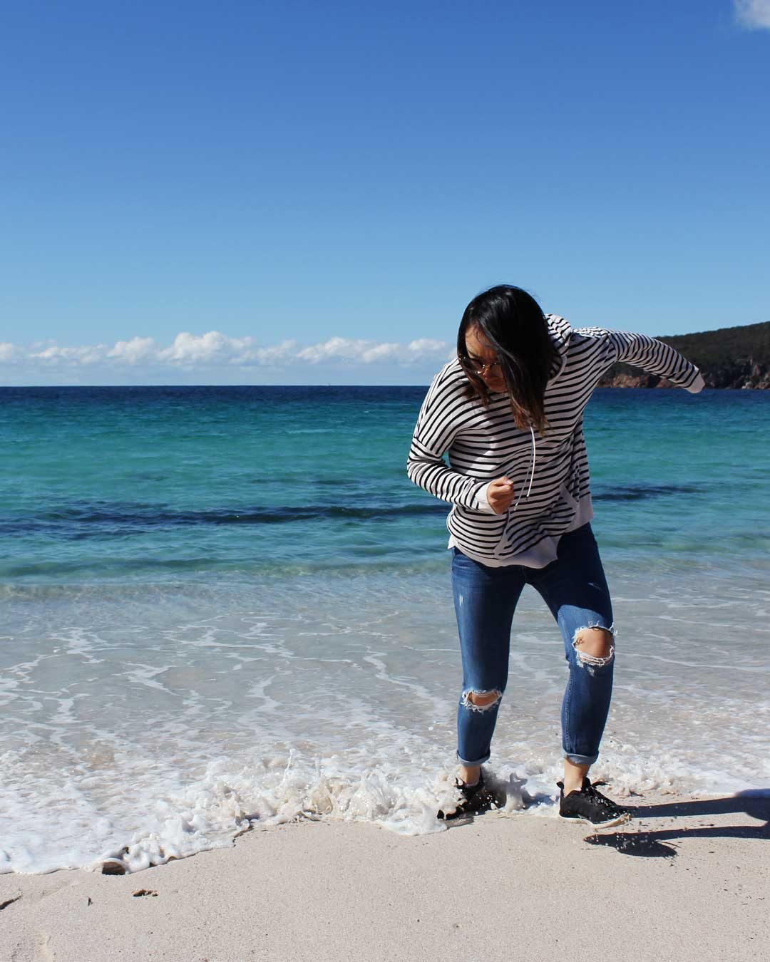Arghh!! Leonie trying to escape the water at Wineglass Bay Tasmania