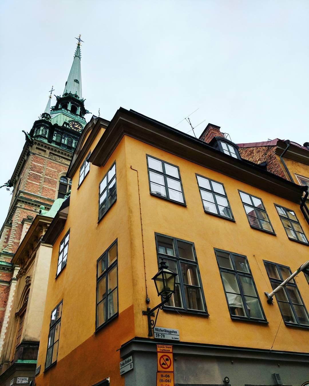 Yellow building in Gamla Stan Stockholm