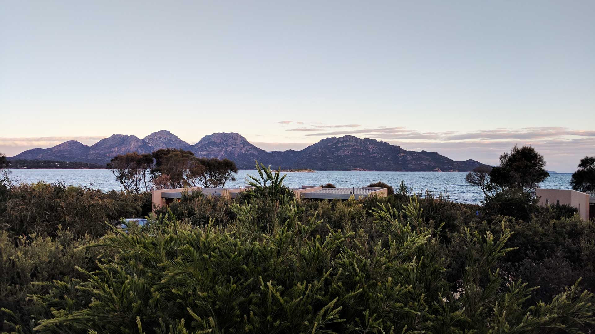 The view from Edge of the Bay Resort Tasmania